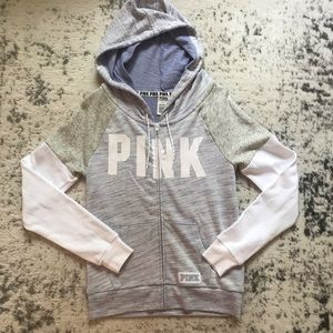 PINK Victoria's Secret Colorblock Full ZIP Hoodie